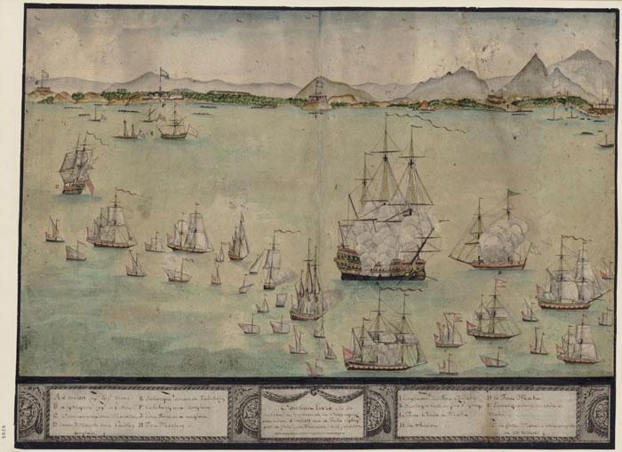 Combat livré à la côte Malabar au vaisseau de la compagnie des Indes L'Indien et à la Palle l'Iphigénie par la flotte des Marattes le 16 février 1770 : [dessin]  - Gallica