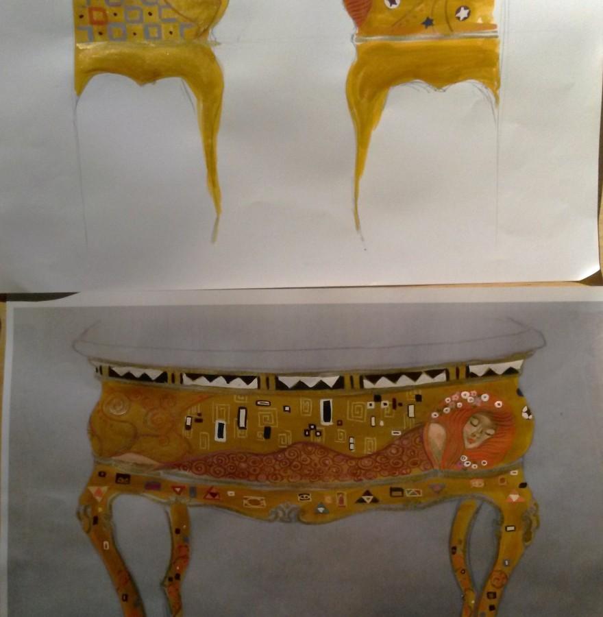dessins projet vasque d'inspiration Klimt