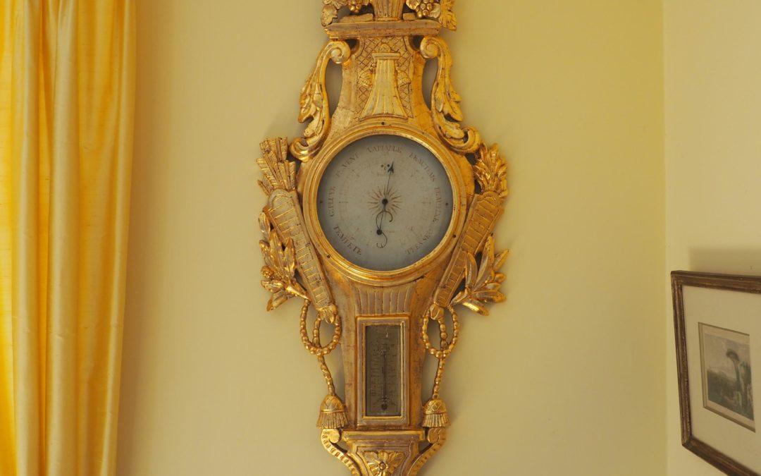 Baromètre doré d'époque Louis XVI