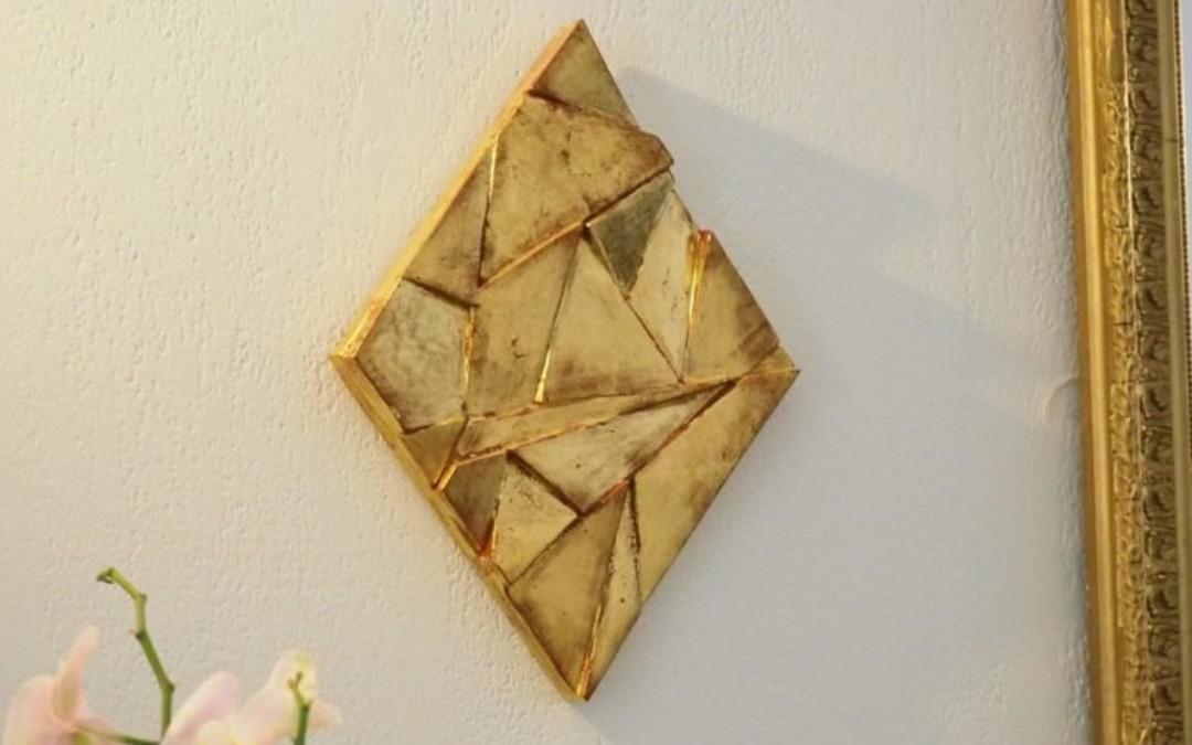 """Panneau doré """"à la détrempe"""" (dimensions:40*30cm)"""