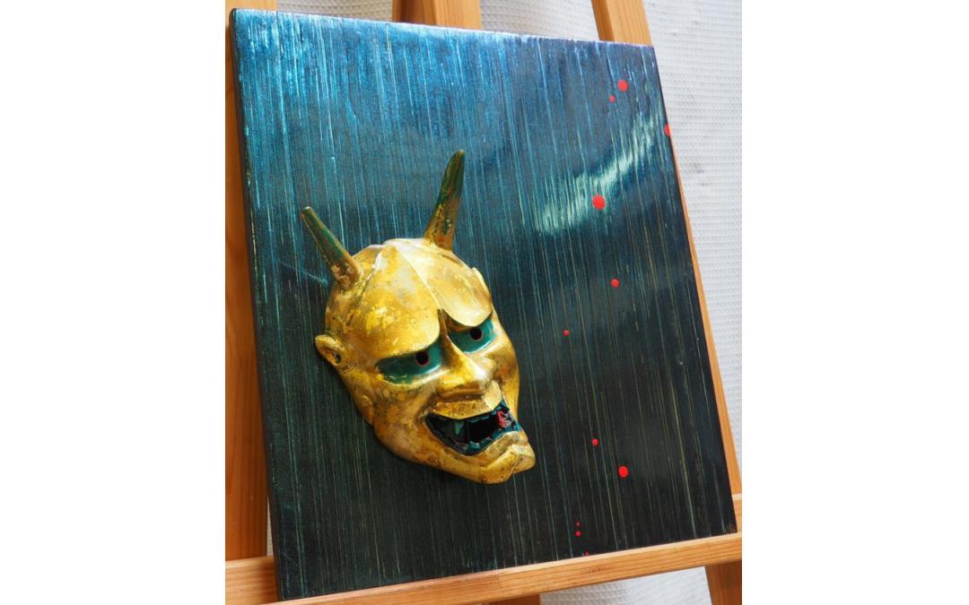 """Panneau de laque avec masque doré de théâtre nô """"Hannya"""" (dimensions : 40*40cm)"""