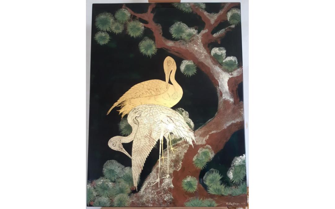 Panneau Japonisan en laque, feuilles d'or et poudre d'aventurine (dimensions:80*50cm)