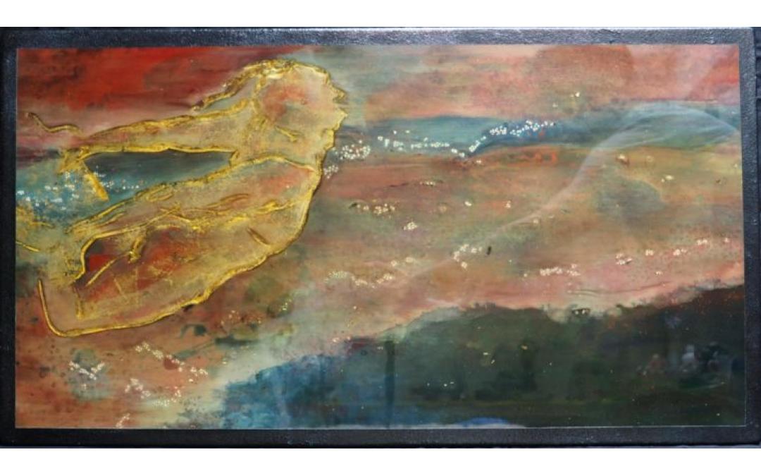 Panneau de laque, incrustations de nacre, coquilles d'œufs et feuilles d'or (dimensions:80*40cm)